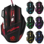 MOYUKAXIE High-end Optical Professional Wired Gaming Mouse with 7 Bright Colors LED Backlit – Black