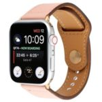 Genuine Leather Watch Strap Smart Watch Band Watchband with Rivet Fastener for Apple Watch Series 1/2/3 42mm / Apple Watch Series 4 44mm – Light Pink