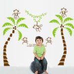 Kids Children Room Decal Five Monkeys Tree DIY Wallpaper Art Decor Mural Wall Stickers