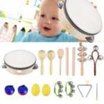 10pcs  Kids Children Baby Wood+Metal+Plastic Music Instruments Percussion Toy Rhythm Band Set