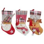 3pcs/set Christmas Hanging Stockings Santa Snowman Reindeer Gift Candy Bags Christmas Decoartions Ornaments – Style 1