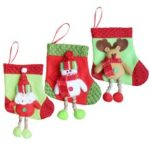 3pcs/set Christmas Hanging Stockings Santa Snowman Reindeer Gift Candy Bags Christmas Decoartions Ornaments – Style 3