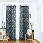 Home Use Phoenix Tail Pattern Curtain Window Gauze – Black