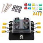 Fuse Box Holder 6 Way Blade Fuse Blocks with LED Indicator 10Pcs Fuses 10Pcs Terminals for Car 12V 24V – Black