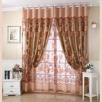 2Pcs 100*250cm Elegant Luxury High-end Floral Pattern Window Curtains with Beads Door Voile Curtain Window Drape Divider – Khaki