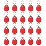 20pcs Writable Rewrite 125KHz RFID Tag Keyfob Keychain Cards for Access Control – Red