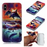 Pattern Printing IMD TPU Shell Case for iPhone XS/X 5.8-inch – Dolphin