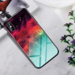 Gradient Color Tempered Glass + PC + TPU Hybrid Case for iPhone XS / iPhone X – Colorful Nebula