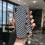 Bling Sequin PU Leather + Plastic + TPU Hybrid Phone Case with Metal Shoulder Strap for iPhone XS / X – Black