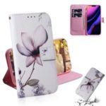 Pattern Printing PU Leather + TPU Stand Wallet Phone Cover for iPhone (2019) 5.8-inch – Flower