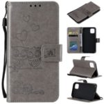 Imprint Owls Pattern Wallet Stand Flip Leather Protective Shell for iPhone (2019) 5.8-inch – Light Brown