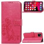 HAT PRINCE Imprinted Clover Wallet Stand TPU + PU Leather Phone Case for iPhone (2019) 5.8-inch – Rose