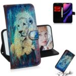 Pattern Printing Leather Wallet Case for iPhone (2019) 6.1-inch – Lion
