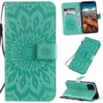 Imprint Sunflower Leather Wallet Case for iPhone (2019) 6.5-inch – Cyan