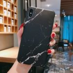Marble Pattern IMD TPU Back Case for iPhone XS/X 5.8 inch – Black