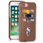3 Card Slots Leather Coated Hard PC Phone Cover with Lanyard for iPhone 7 Plus / 8 Plus 5.5-inch – Brown