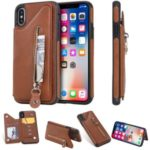 PU Leather Phone Case Zipper Pocket Card Holder for iPhone X/XS 5.8 inch – Brown