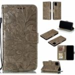 Imprinted Lace Flower Style Leather Wallet Casing Shell for iPhone (2019) 6.5-inch – Brown