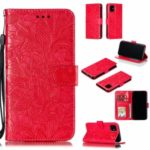 Imprinted Lace Flower Style Leather Wallet Casing Shell for iPhone (2019) 6.1-inch – Red