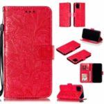 Imprinted Lace Flower Style Leather Wallet Casing Shell for iPhone (2019) 5.8-inch – Red