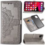 Embossed Mandala Flower Leather Wallet Stand Case for iPhone (2019) 6.1-inch – Grey