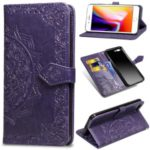 Embossed Mandala Flower Leather Wallet Case for iPhone 8 Plus / 7 Plus – Purple