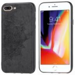 Imprint Mandala Flower PU Leather Coated PC + TPU Hybrid Case for iPhone 8 Plus / 7 Plus – Black