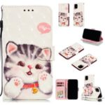 For iPhone (2019) 6.1-inch 3D Printing Leather Wallet Casing – Adorable Cat