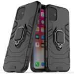 PC + TPU Combo Finger Ring Kickstand Cell Phone Cover Case for iPhone (2019) 6.1-inch – Black