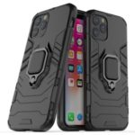 Phone Cover for iPhone (2019) 5.8-inch Finger Ring Kickstand PC + TPU Hybrid Case – Black
