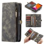 CASEME 008 Series Detachable Split Leather Wallet Phone Case Covering for iPhone (2019) 6.1-inch – Grey