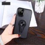 Finger Ring Kickstand PC + TPU Phone Case (Built-in Magnetic Metal Sheet) for iPhone (2019) 6.1-inch – Black