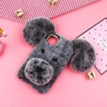 Lucky Dog Shape Fur Coated Flexi TPU Protective Phone Cover for iPhone (2019) 6.1-inch – Grey