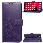 Imprint Clover Pattern Leather Wallet Phone Cover for iPhone (2019) 6.1-inch – Purple