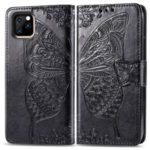 Imprint Butterfly Leather Phone Cover Wallet Case for Apple iPhone (2019) 6.1-inch – Black