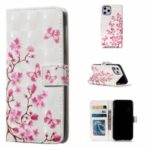 Light Spot Decor Pattern Printing Leather Wallet Shell for iPhone (2019) 5.8-inch – Flowers and Butterflies