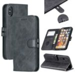 PU Leather Stand Wallet Case Magnetic Clap Phone Shell for iPhone XS Max 6.5 inch – Black