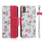 Pattern Printing PU Leather + TPU Wallet Phone Shell for iPhone X/XS 5.8 inch – Rose