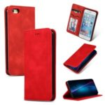 Auto-absorbed Business Style PU Leather Stand Phone Case with Card Slots for iPhone 6s / 6 – Red