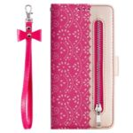 Lace Flower Zipper Pocket Leather Wallet Phone Case for iPhone 7/8 – Rose