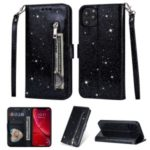 Flash Powder Zippered Stand Leather Wallet Cover with Strap for iPhone (2019) 6.5-inch – Black