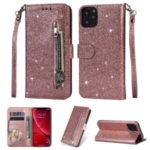 Flash Powder Zippered Stand Leather Wallet Cover with Strap for iPhone (2019) 6.5-inch – Rose Gold