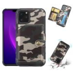 SHOUHUSHEN Camouflage Leather Coated PC TPU Hybrid Card Holder Case for iPhone (2019) 6.1-inch – Army Green
