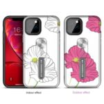 Color-changing Flower Pattern Phone Case with Finger Ring for iPhone (2019) 6.1-inch – Red Flower