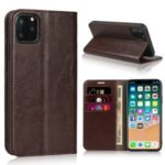 Crazy Horse Skin Genuine Leather Phone Covering for iPhone 11 Pro 5.8 inch – Coffee
