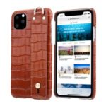 Crocodile Texture Genuine Leather Coated Plastic Shell with Hand Band Cover for iPhone 11 6.1 inch – Brown