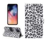 Leopard Pattern Wallet Stand Flip Leather Case for iPhone 11 Pro 5.8 inch – White