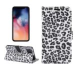Leopard Texture Stand Leather Phone Wallet Case for iPhone 11 Pro Max 6.5 inch – White