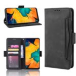 Leather Wallet Stand Phone Cover Case with Multiple Card Slots for Samsung Galaxy A30 / A20 – Black