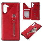 PU Leather Cell Covering Zipper for Samsung Galaxy Note 10 / Note 10 5G – Red